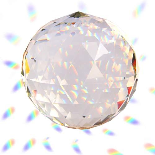 Hey_you Klarglas Kristallkugel Prisma Kristall Suncatcher Kugel Facettierte Blickkugel Ornament Prismen für Fenster, Sonnenfänger (120mm)