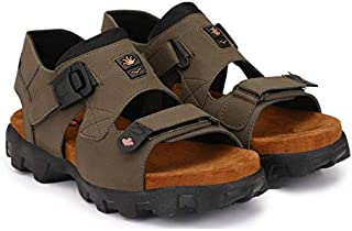 Emosis Men's 0181 Tan Brown Green Colour Formal Casual Ethnic Office Party Sandal