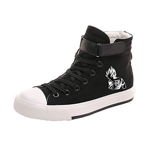 Dragon Ball Schuhe Street Style Volltonfarbe Britische Art Freizeitschuhe Student Schuhe Segeltuchschuh rutschfest (Color : Black03, Size : EU43 US11)