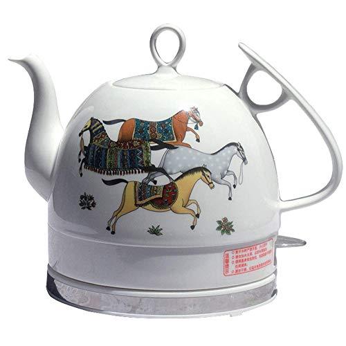 Hervidor eléctrico Ceramic White Tetera Retro 1 L de acero inoxidable Jarra sin BPA, apagado automático rápido de ebullición 1000 W agua para té, café, sopa, harina de avena extraíble