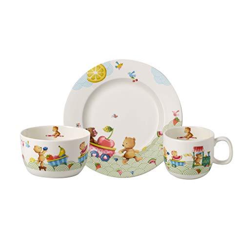 Villeroy & Boch Hungry as a Bear Kinder-Tafelservice, 3-teilig, Premium Porzellan, Weiß/Bunt