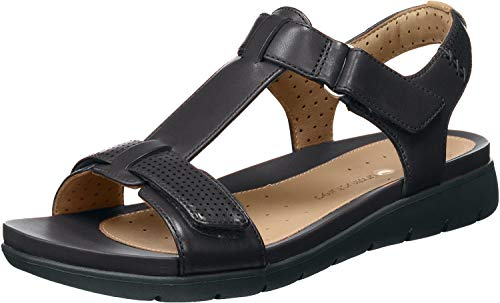 Clarks Un Haywood Womens Wide-Fit Sandals 3.5 Black