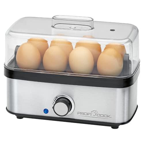 ProfiCook PC-EK 1139 Eierkocher für bis zu 8 Eier, Omelett-/Pochier-Funktion, Akustisches Endsignal, Edelstahl