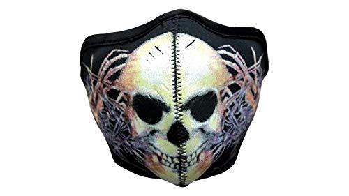 kenai dark Motorrad Neopren Maske Skull mit Feinstaubfilter, Biker Maske Tattoo Skull,Winddicht Staubdicht