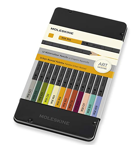 Moleskine Urban Nomad Colored Watercolor Pencil Set, 12 Color Set