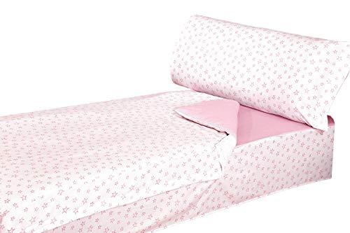 Montse Interiors Schlafsack-Set aus 100% Baumwolle - Stern-Muster - Design 'A-Paris' - Rosa - Deckenbezug 90 x 195 cm, Kissenhülle 110 x 45 cm, Spannbettlaken 90 x 195 cm