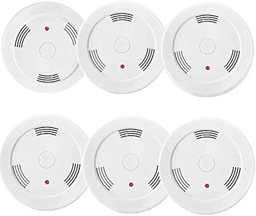 6 Pack Fire Alarms Smoke Detector Battery Operated with Photoelectric Sensor and Silence Button Travel Portable Smoke Alarms