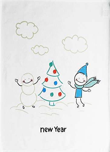Half a Donkey New Year Snowman and Friend around the tree - Large Cotton Tea Towel