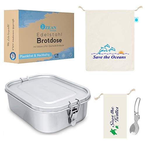 OzeanKonzept® Edelstahl Brotdose | Lunchbox für Kinder und Erwachsene | Brotdose aus Metall auslaufsicher, Brotzeitbox 800ml für Wandern, Schule und Kindergarten mit Baumwolle Tasche & Göffel