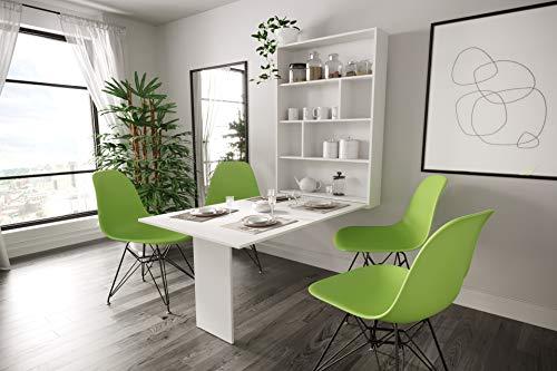 KRYSPOL Ausziehbarer Tisch ABI multifunktional Klapptisch, Esszimmer, Wohnzimmer, Modern Design (Weiß Matt)