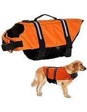Warmiehomy Chaleco Salvavidas para Perro con Flotador Delantero, Perros Seguridad Natación Ropa con Quick Release Ajuste Fácil Cinturón Ajustable (Naranja)