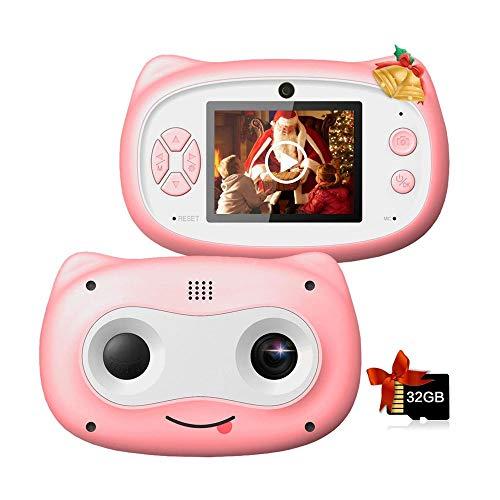 QCHEA Niños de la cámara con la Tarjeta de Memoria de 32 GB, cámara de 8 MP Digital for niños 3-10 Años de Edad, la cámara 1080P HD a Prueba de Golpes Recargable de Video en Age 3-14 for niños