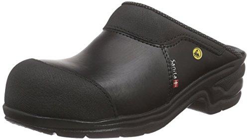 Sanita San Pro Light SB zertifizierter ESD Sicherheitsclog | Original handgemacht | Komfortabler, offener Lederclog, Größe: 41, Schwarz