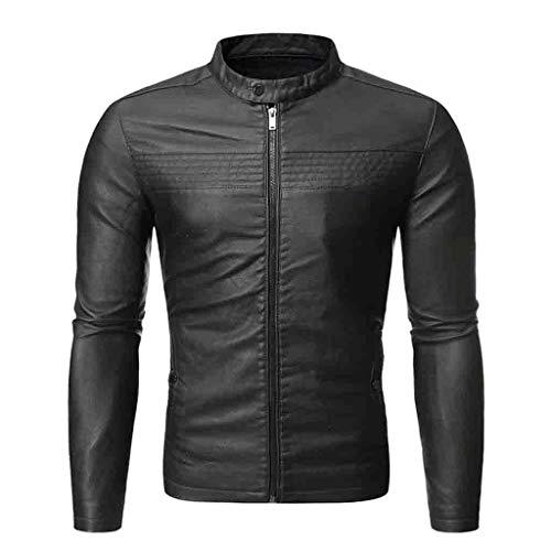 Cappotto da Uomo in Pelle Giacca Autunno e Inverno Biker Moto Cerniera Capispalla Casual (XXL,3- Verde)