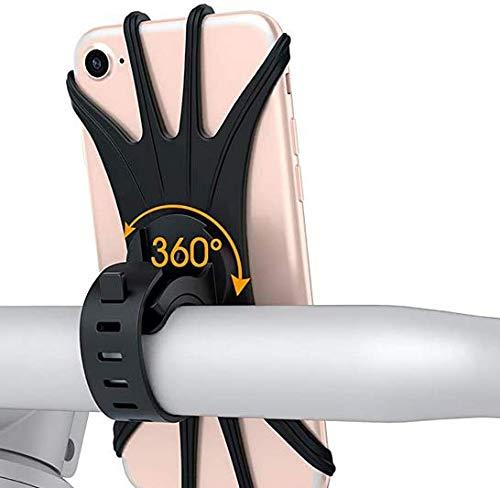 Supporto telefono Bici ,Rotabile 360°Universale Silicone Porta Cellulare Bici moto per iPhone 11 Pro Max/X/XR,Samsung Galaxy A51/A71/S20 Plus, Xiaomi Redmi Note 9s/9 Pro, Huawei P40 e così via (1, 1)