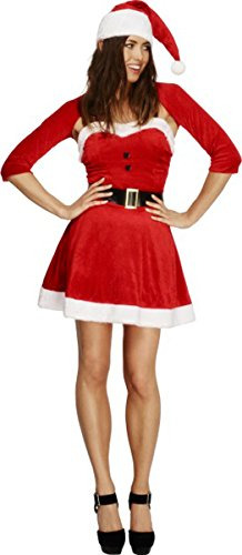 SMIFFYS Febbre Santa Babe Hot Costume Sexy e Naughty Lady Fancy Dress Party Rosso