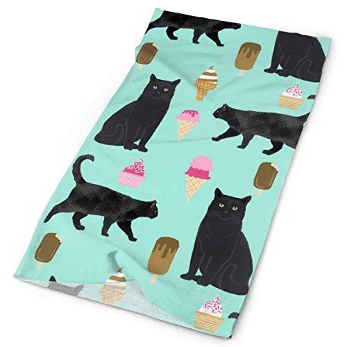 NA Serre-tête en tissu éponge pour chat noir crème glacée pour l'été Dessert alimentaire Bleu clair, Femme, Orange, 2 PCS