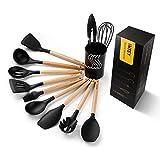 INTEY Silikon Küchenhelfer Set (13 Stücke), Kochzubehör Set mit Aufbewahrungsbehälter und Haken,...
