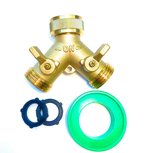"""Deli2020 Brass Garden Hose Y Splitter (2 way adapter), 3/4"""" Y connector, Hose Spigot Adapter with 2 Valves, 2 Extra Rubber Washer and Sealing Tape"""