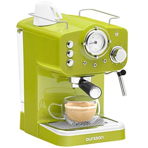 Oursson Kaffeemaschine, 15 Bar Espressomaschine, Espresso-Siebträgermaschine, Milchaufschäumer für Cappuccino und Latte, EM1500/GA, Grün