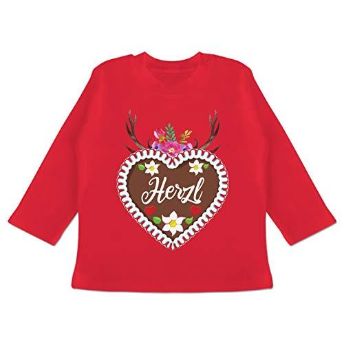 Oktoberfest & Wiesn Baby - Lebkuchenherz Herzl mit Geweih und Blumen - 6/12 Monate - Rot - Spruch - BZ11 - Baby T-Shirt Langarm