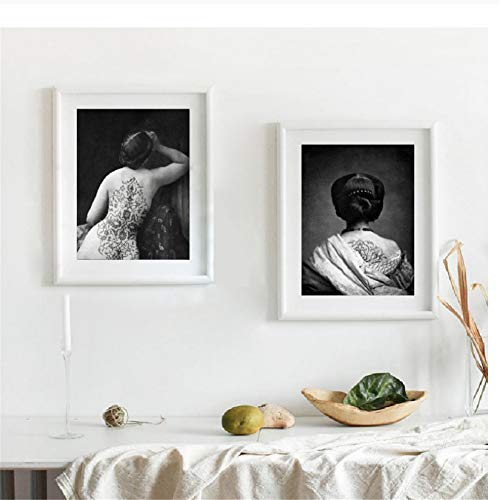 Arabesque Tattoo Woman Art Vintage Portrait Photo Collage Art Prints Bohemian Artwork Figurative Art Boudoir Canvas Painting-40x60cmx2 pcs Sin marco
