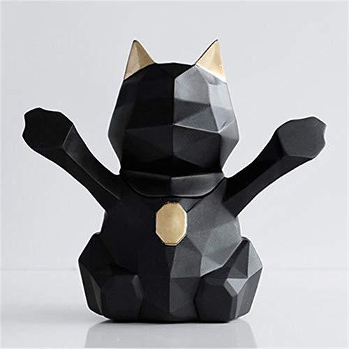 YuanBo Wu Caja de almacenamiento de estatua de animales, palillos de dientes, caja de resina, para manualidades, decoración de hogar, escritorio, sala de estar (color: negro, tamaño: 1)