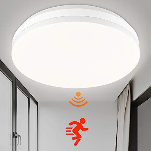 SHILOOK LED Deckenleuchte mit Radar Bewegungsmelder Innen 15W 4000K, IP44 Wasserdicht Rund Deckenlampe für Flur, Treppe, Veranda, Garage, Carport, Balkon, Abstellraum, Keller