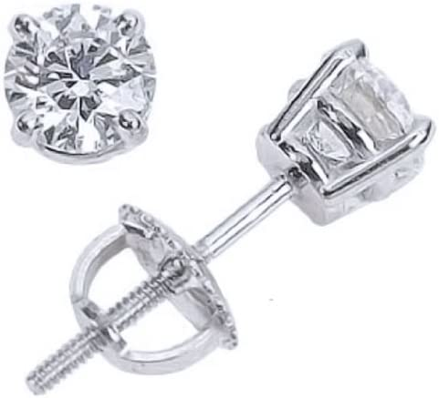 Houston Diamond District 14K White Gold Solitaire Diamond Round Cut 4 Prong Screw Back Stud Earrings (0.75 carats, H-I Color, I1 Clarity)