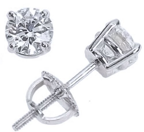 1/4 Carat Solitaire Diamond Stud Earrings 18K White Gold Round Brilliant Shape 4 Prong Screw Back (D-E Color, I2 Clarity)