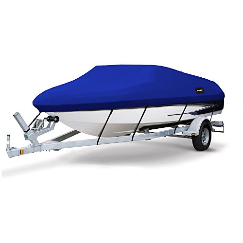 """MSC Heavy Duty 600D Marine Grade Polyester Canvas Trailerable Waterproof Boat Cover,Fits V-Hull,Tri-Hull, Runabout Boat Cover (Pacific Blue, Model D - Length:17'-19' Beam Width: up to 96"""")"""