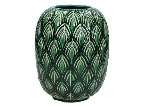 Vaas leaf - aardewerk - petrol - 18x18x23cm
