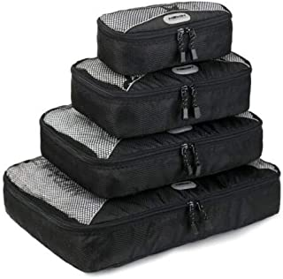 FidgetGear 4Pcs Waterproof Travel Storage Bags Clothes Packing Luggage Organizer Pouch Cube Black One Size