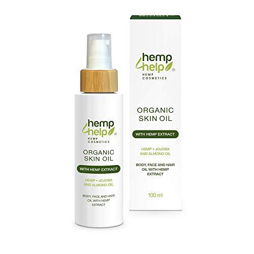 Bio Hanf Haut-Öl mit Jojoba-Öl und Mandel-Öl - Hemp 4 Help BIO Hautöl mit Hanf E.xtract (100 ml): 3 in 1 Körper-Öl, Gesichts-Öl, Haar-Öl mit Mandelblüten zur Haut-Pflege für unreine und trockene Haut