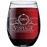 52nd Birthday Gifts for Women Men - 1969 Vintage 15 oz Stemless Wine...