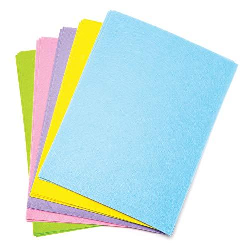 Baker Ross Großpackung Filzbogen in Pastellfarben (15 Stück) – für Kinder zum Basteln und Gestalten im Frühling