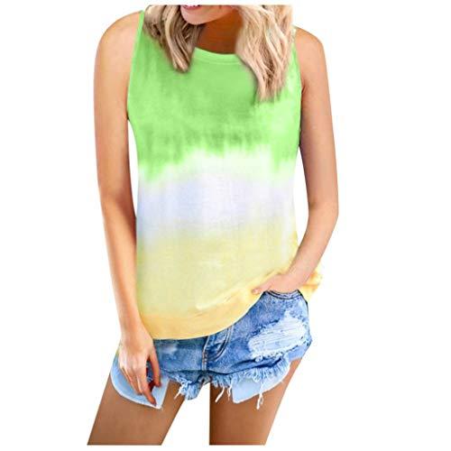 Women Tie-dye Tee O-Neck Gradient Crop Tops Summer Vest Sleeveless T-Shirt(Green,3XL)