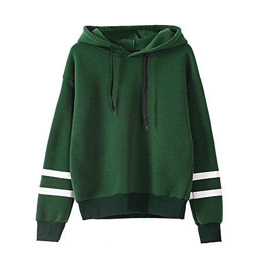 Xmiral Damen Sweatshirt Herbst Langarm Hoodie Jumper Baumwollmischung Pullover Tops Bluse (XL,Grün)