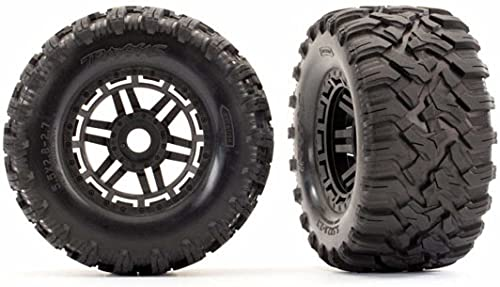Traxxas 8972 Maxx Black All Terrain Tires and Wheels for Remote Control Cars, 17mm Splined TSM Rated