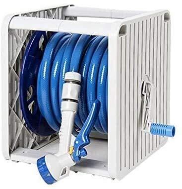 Dmqpp 66ft Gartenschlauch Reel Set, Gartenschlauch mit 8-Funktion Hochdruck-Spray-Düse, ultimative No-Kink Flexibler Wasserschlauch Schlauchtrommel