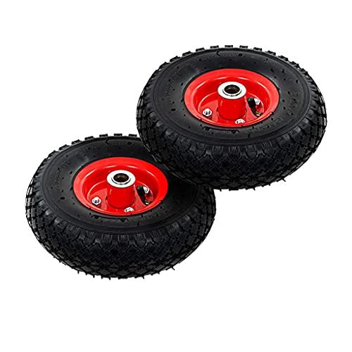 HUANGFINPI Color: Negro y Rojo Ruedas de Carrito de Sacos 2 Unidades Goma 3.00-4 260x85 mm