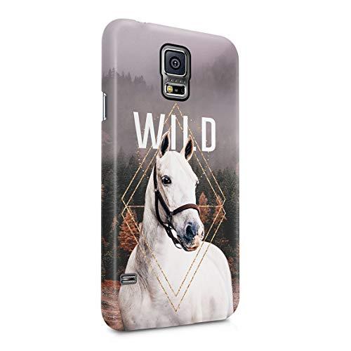 Custodia in Plastica Rigida Per Samsung Galaxy S5 Mini Foresta Albero Cavallo Wild Forest Animal Horse Spirit Mustang Strength Landscape Smokes Savage Trees Cover Protettiva Sottile e Leggera