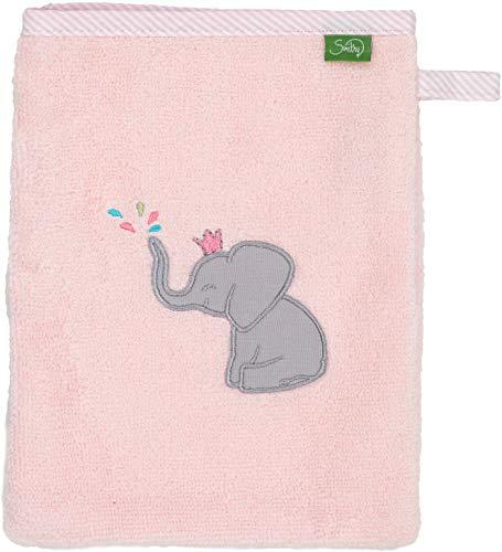 Smithy Waschlappen aus 100% Baumwolle - saugstarker und weicher Öko-Tex-100 zertifizierter Waschhandschuh für Kinder in rosa mit Elefant