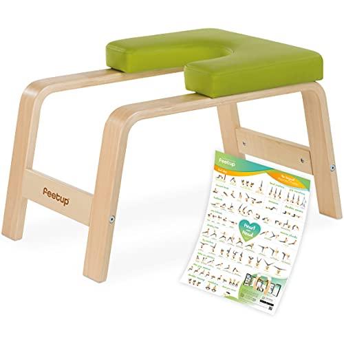 FeetUp® Taburete de yoga con soporte para cabeza, original de madera de haya con...