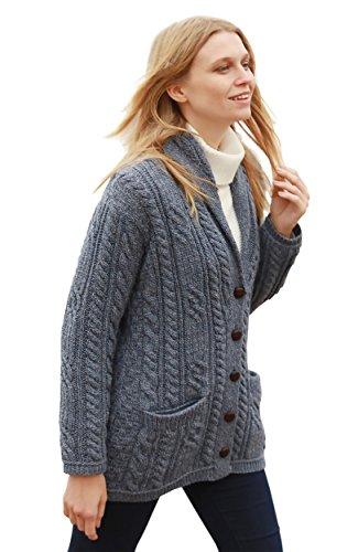 Arran Woolen Mills Damen Strickjacke aus irischer Wolle mit vielen Zöpfen (Grau, XL)