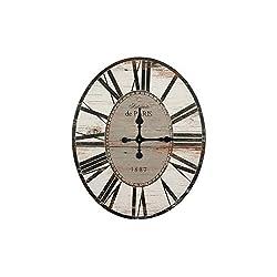 Creative Co-op Distressed Wood Wall Clock, 29 Oval, Light Grey