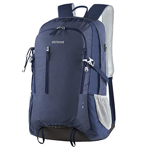 Trekkingrucksack, 45L Wasserdichter Rucksack Reiserucksack, Wanderrucksack,Outdoor-Rucksack mit reflektierenden Streifen, geeignet zum Wandern, Radfahren, Bergsteigen und Reisesport, L, Blau