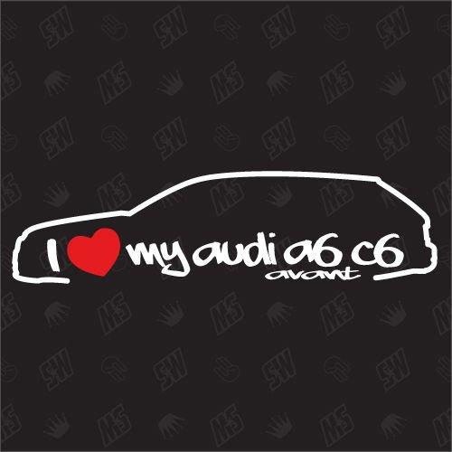 speedwerk-motorwear I Love My A6 C6 Avant - Sticker Bj.04-11, kompatibel mit Audi