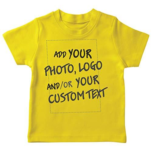 lepni.me Camiseta para Niño/Niña Regalo Personalizado, Agregar Logotipo de la Compañía, Diseño Propio o Foto (3-4 Years Amarillo Multicolor)