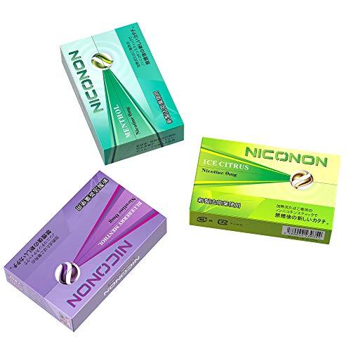 NICONON ニコノン 禁煙後の新しいカタチ。アイコス互換機 次世代ニコチン0mg加熱式スティック (メンソール&アイスシトラス&ブルーベリーメンソール, 各1箱ずつ吸い比べセット)